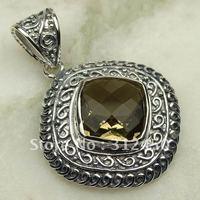 Wholeasle joyería de plata hechos a mano, colgante de cuarzo ahumado de piedras preciosas joyas de envío gratis LP0640 (China (continental))