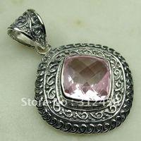 Wholeasle joyería de plata hechos a mano de piedras preciosas de color rosa topacio colgante de joyería de envío gratis LP06831 (China (continental))