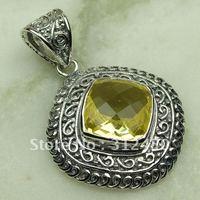 Wholeasle joyería de plata hechos a mano, la luz citrino piedra colgante de joyería libre LP0653 de envío (China (continental))