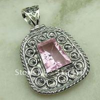 Suppry 5PCS joyería de plata hechos a mano de piedras preciosas de color rosa topacio colgante de joyería de envío gratis LP0654 (China (continental))