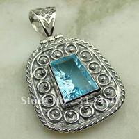 Suppry 5PCS joyería de plata hechos a mano de piedras preciosas topacio azul cielo joyería colgante envío gratis LP0644 (China (continental))