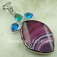Joyería hecha a mano de plata púrpura ágata de piedras preciosas joyas colgantes envío gratis LP0693 (China (continental))