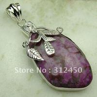 Wholeasle joyería hecha a mano de plata morado turquesa colgante de piedras preciosas joyas de envío gratis a LP0692 (China (continental))