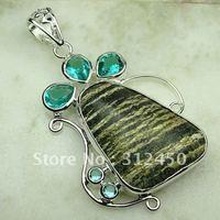 Wholeasle joyería hecha a mano de plata verde jaspe cebra colgante de piedras preciosas joyas de envío gratis a LP0688 (China (continental))