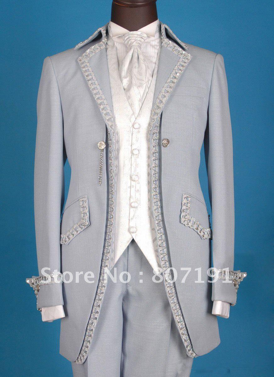 FREE-SHIPPING-French-grey-men-wedding-dress-Groom-wear-suit-mens ...