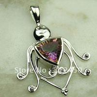 Wholeasle 5PCS moda de joyería de plata topacio místico colgante de piedras preciosas joyas de envío gratis a LP0088 (China (continental))