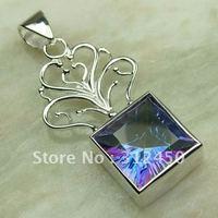 Wholeasle 5PCS moda de joyería de plata topacio místico de piedras preciosas joyas colgantes libre LP0083 de envío (China (continental))