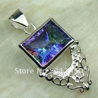Wholeasle 5PCS moda de joyería de plata topacio místico colgante de piedras preciosas joyas de envío gratis a LP0086 (China (continental))