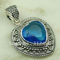 Suppry joyería de plata hechos a mano 5PCS suizo piedras preciosas topacio azul envío joyas gratis LP0746 (China (continental))