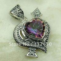 Suppry joyería de plata hechos a mano de piedras preciosas Topacio místico colgante de joyería de envío gratis LP0797 (China (continental))