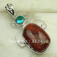 Nueva suppry joyería de plata jaspe rojo colgante de piedras preciosas joyas de envío gratis a LP0323 (China (continental))