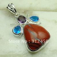 Nueva plata suppry joyas de piedras preciosas joyas de jaspe rojo colgante libre LP0605 de envío (China (continental))