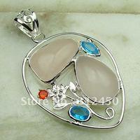 Wholeasle joyería de plata colgante de cuarzo rosa suppry piedras preciosas joyas de envío gratis LP0607 (China (continental))