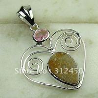 Joyería de plata hechos a mano de ágata drusy druzy colgante de piedras preciosas joyas gratis LP0601 de envío (China (continental))