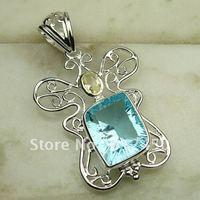 Fahion joyas de plata de topacio azul colgante de piedras preciosas joyas gratis LP0521 de envío (China (continental))