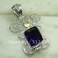 Fahion plata amethys joyas de piedras preciosas joyas colgantes envío gratis LP0603 (China (continental))