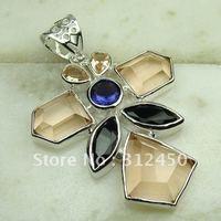5PCS joyería de plata colgante de piedras preciosas joyas morganita libre LP0602 de envío (China (continental))