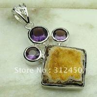 Hecho a mano de joyería de plata 5pcs ágata drusy druzy colgante de piedras preciosas joyas gratis LP0606 de envío (China (continental))