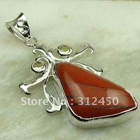 Nueva plata suppry joyas de jaspe rojo colgante de piedras preciosas joyas de envío gratis a LP0033 (China (continental))