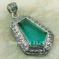 Wholeasle joyería hecha a mano de plata verde amatista colgante de piedras preciosas joyas prasiolite envío gratis LP0169 (China (continental))