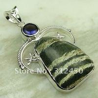 5PCS plata suppry joyería verde dalmatine jaspe piedra preciosa joyería colgante libre LP0032 de envío (China (continental))