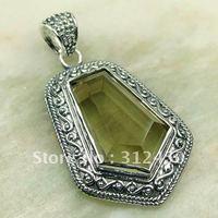 Wholeasle joyería de plata hechos a mano, colgante de cuarzo ahumado de piedras preciosas joyas de envío gratis LP0143 (China (continental))