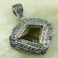 Wholeasle joyería de plata de piedras preciosas de cuarzo ahumado 5PCS colgante de envío gratis a LP0144 (China (continental))
