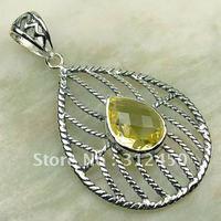 Wholeasle plata joyería de piedras preciosas 5PCS luz citrino envío gratis LP0174 colgante (China (continental))