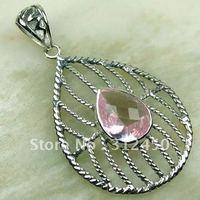 Wholeasle plata joyería de piedras preciosas topacio rosa 5PCS envío gratis LP0148 colgante (China (continental))