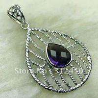 Wholeasle joyería de plata 5PCS piedra preciosa amatista colgante de envío gratis a LP0147 (China (continental))