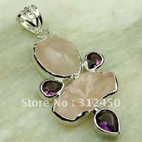 Joyas de plata Suppry cuarzo rosa colgante de piedras preciosas joyas gratis LP0260 de envío (China (continental))