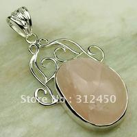 Plata Suppry joyas naturales de cuarzo rosa colgante de piedras preciosas joyas de envío gratis a LP0254 (China (continental))