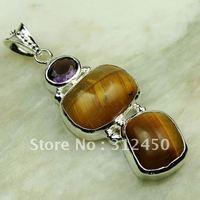 Moda joyería de plata hechos a mano de piedras preciosas naturales de tigre ojo pendiente de envío joyas gratis LP0255 (China (continental))
