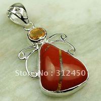 Moda joyería de plata hechos a mano de piedras preciosas de color rojo jaspe pendiente de envío joyas gratis LP0258 (China (continental))