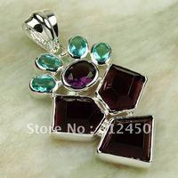 Joyería de moda de plata hechos a mano colgante amatista piedras preciosas joyas de envío gratis LP0296 (China (continental))