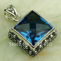 Joyería de moda de plata hechos a mano de piedras preciosas topacio azul colgante de joyería de envío gratis a LP0284 (China (continental))