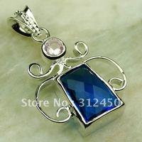 Plata joyería de moda colgante de piedras preciosas topacio azul joyas envío gratis LP0291 (China (continental))