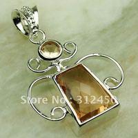 Plata joyería de moda colgante de piedras preciosas morganita envío gratis LP0293 joyas (China (continental))