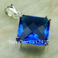 Suppry moda envío gratis de joyería de plata suizo topacio azul colgante de piedras preciosas LP0444 (China (continental))