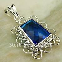 Suppry 5PCS moda envío gratis de joyería de plata suizo topacio azul colgante de piedras preciosas LP0432 (China (continental))