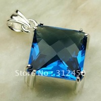 Suppry 5PCS moda envío gratis de joyería de plata suizo topacio azul colgante de piedras preciosas LP0430 (China (continental))