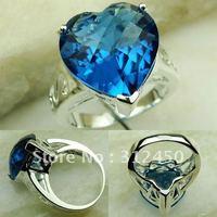 5PCS moda de joyería de plata océano azul topacio anillo de piedras preciosas joyas gratis LR0261 envío (China (continental))