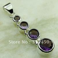 Nuevo 5pcs plata suppry joyas de piedras preciosas la amatista colgante joyas envío gratis LP0576 (China (continental))