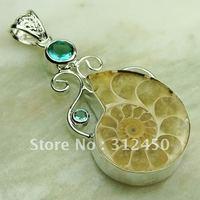Esterlina joyería hecha a mano de plata colgante de piedras preciosas joyas ammonite envío gratis LP0593 (China (continental))