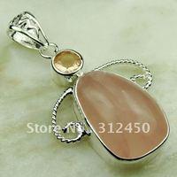 Joyería de plata esterlina colgante cuarzo rosa hecha a mano de piedras preciosas joyas de envío gratis LP0581 (China (continental))