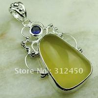 Esterlina joyería hecha a mano de plata de cuarzo limón piedra colgante de joyería de envío gratis a LP0575 (China (continental))
