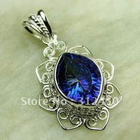 Plata joyería de moda colgante de piedra preciosa topacio místico suppry 5PCS joyas envío gratis LP0694 (China (continental))
