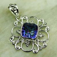 Plata joyería de moda colgante de piedra preciosa topacio místico suppry envío joyas 5PCS libre LP0674 (China (continental))