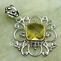 Fahion plata joyería de piedras preciosas citrino luz colgante joyas envío gratis LP0695 (China (continental))