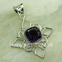 Fahion joyas de plata de la piedra preciosa amatista colgante joyas gratis LP0673 de envío (China (continental))